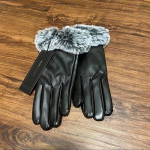 BCBG Max Azria Black Leather Gloves with Grey Trim